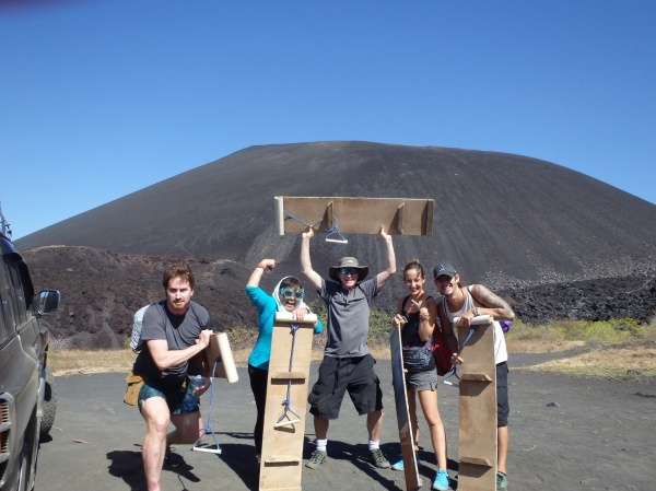 The crew of intrepid volcano boarders assembles at the foot of Cerro Negro